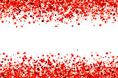 Red heart shaped confetti forming a header - footer background for use as a design element