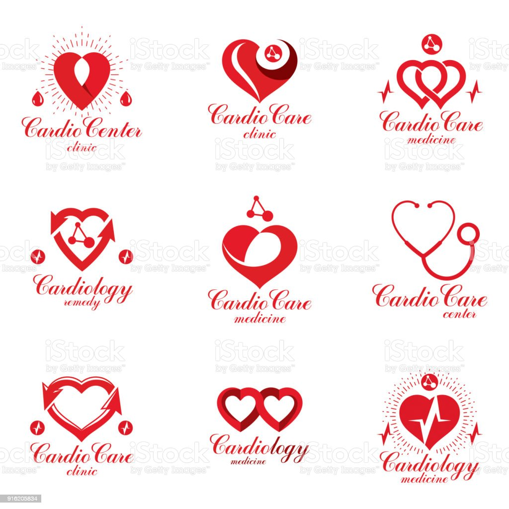 Red Heart Shapes Made Using Ecg Charts And Caring Hands Set Of