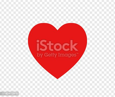 istock Red heart sign isolated on transparent background. Valentines day icon. Hand drawn heart shape. World heart day concept. Love icon. Vector illustration 1182472970