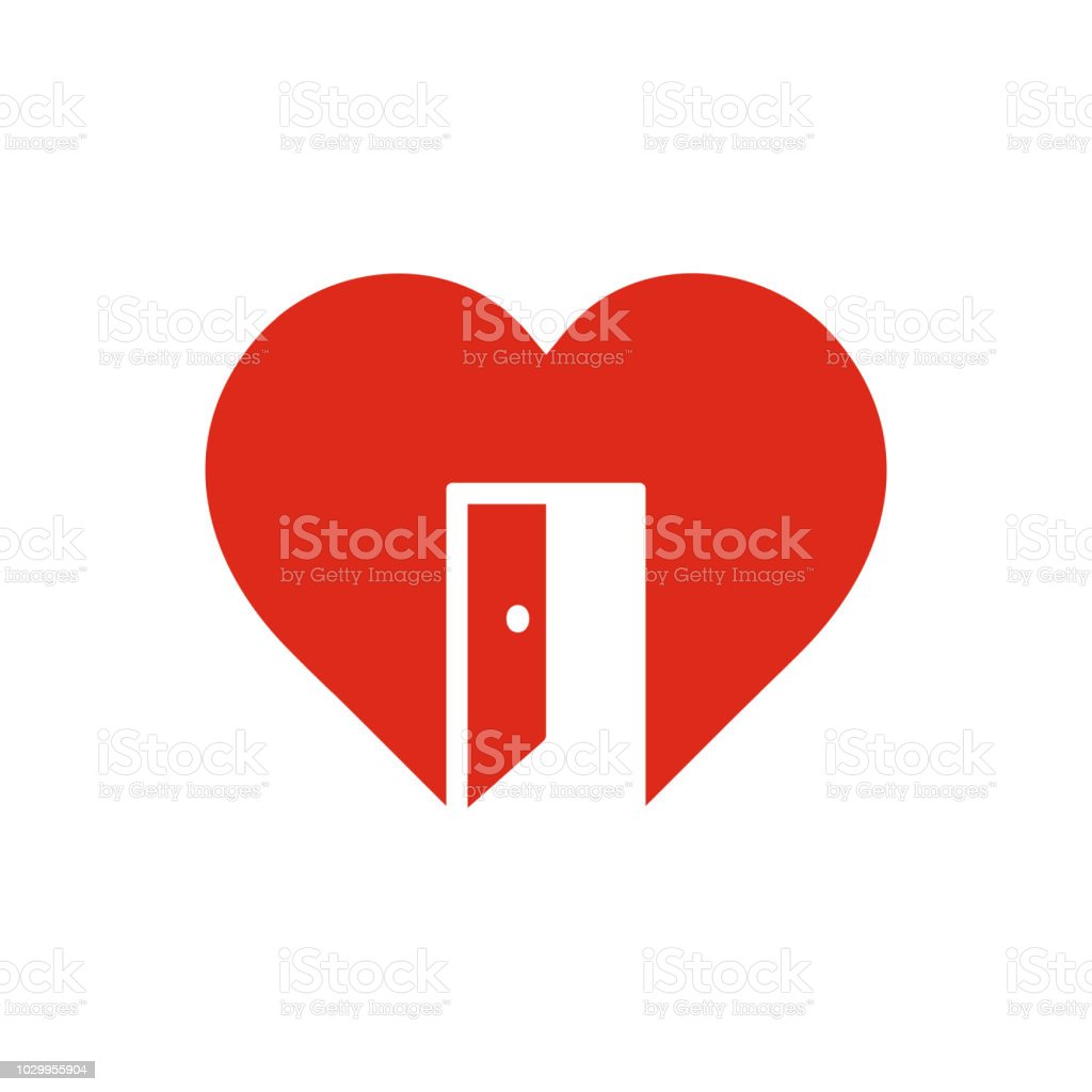 Red Heart Sign With Open Door Symbol Of Cordiality Open Feeling