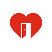 Red heart sign with open door, symbol of cordiality, open feeling, trust icon