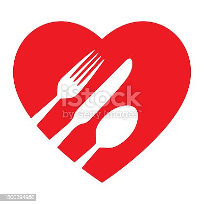 istock Red Heart Silverware Icon 1300394950