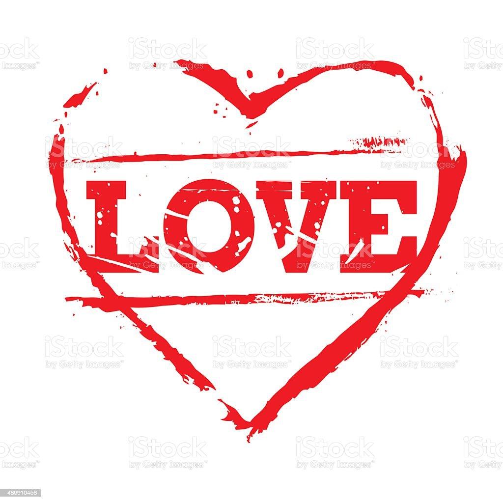 Rotes Herz Stempel Und Lieben Stock Vektor Art und mehr Bilder von ...