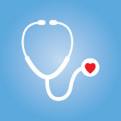Vector illustration of a white stethoscope with a red heart on a gradient blue background.