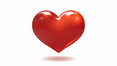 Red vector translucent red heart symbol isolated on white background