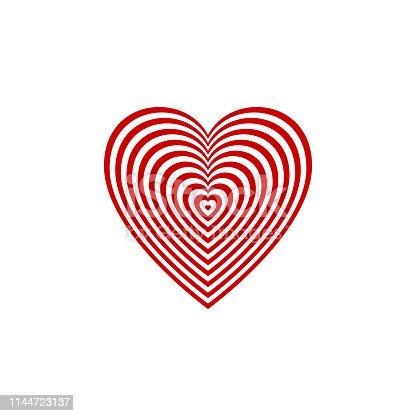 red heart target on transparent background. vector illustration. heart aim symbol