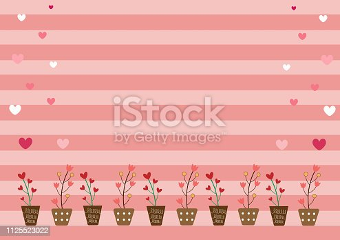 Red heart tree and pink flower in brown pot and gradient pink heart on stripe pastel pink background with copy space. Sweet vector wallpaper design in love emotion on Valentine  for invited card.