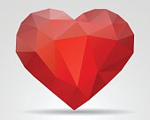 Red Triangle Heart Icon. EPS 10.