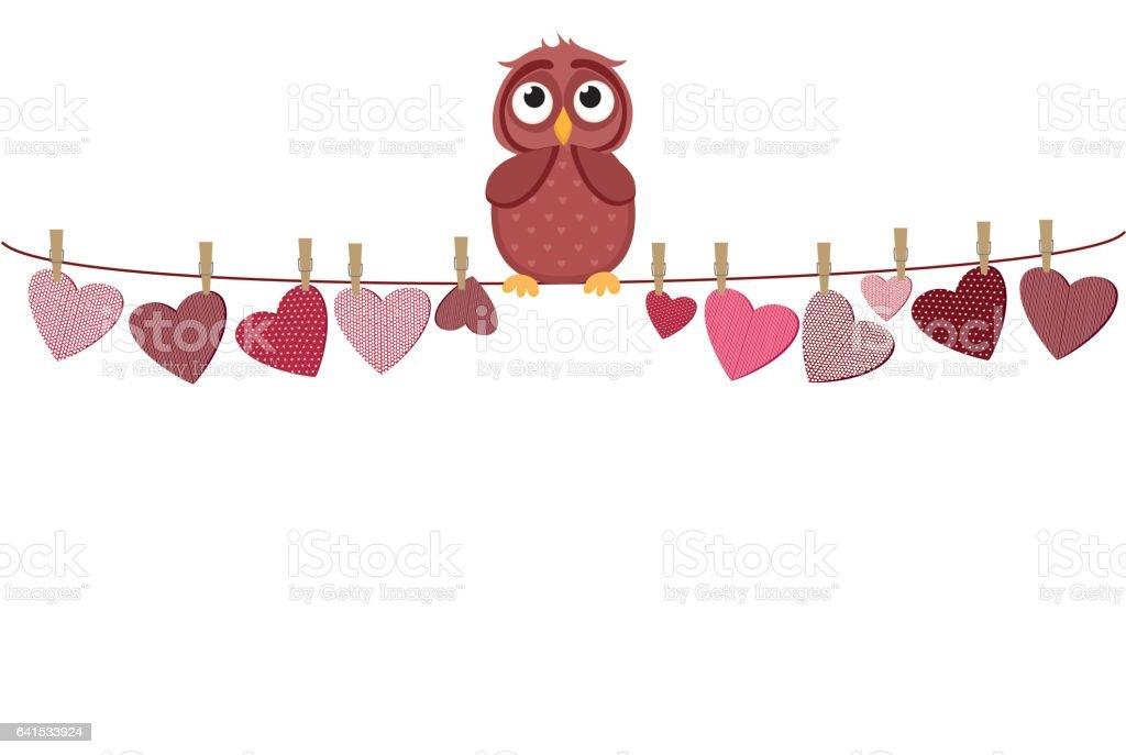 Ein Rotes Herz Mit Einem Bild An Einem Seil Hängen Süße Eule Sitzt ...