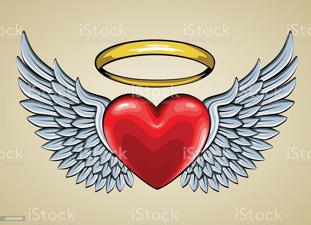 赤いハート、天使の羽とヘイロー ベクターアートイラスト
