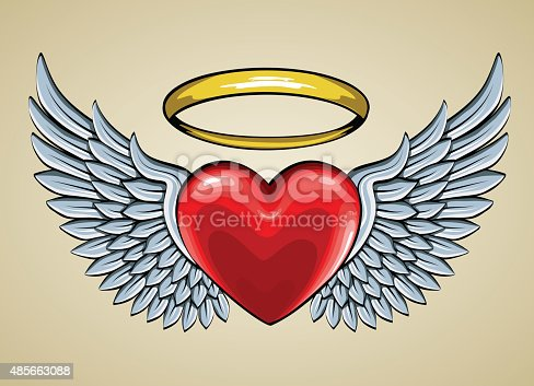 Red Heart With Angel Wings And Halo Stock Vector Art ... Angel Wings Heart Halo