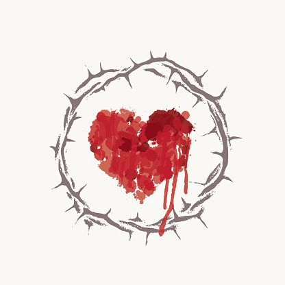 red heart with bloody drips inside crown of thorns