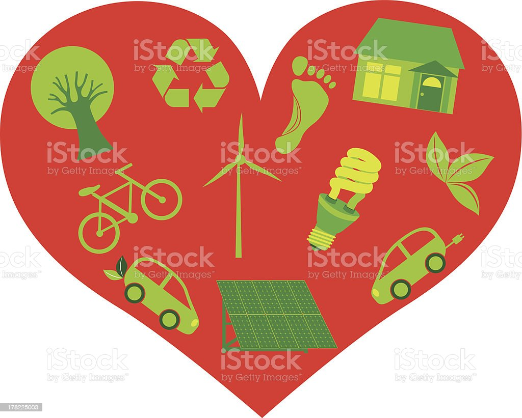 Red Heart with Eco Friendly Icons Vector Illustration royalty-free stock vector art