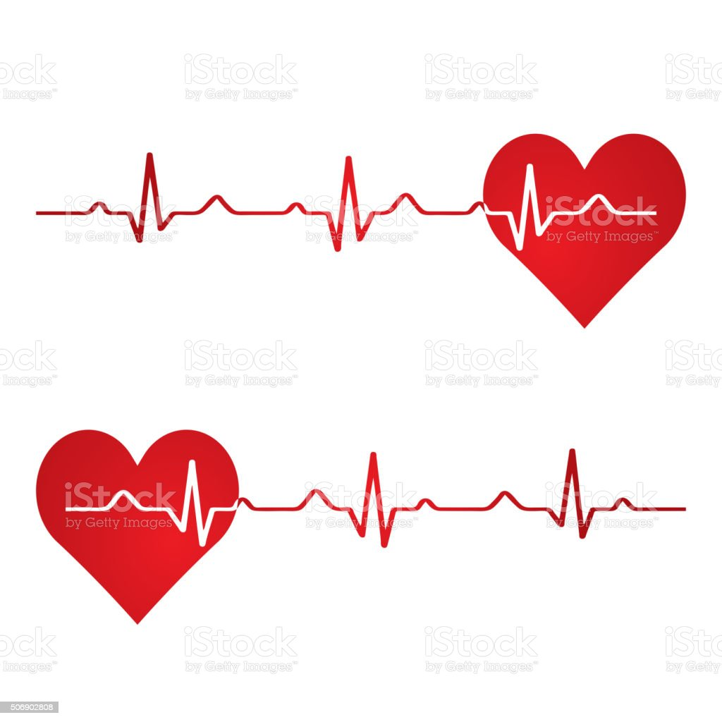 Red heart with ekg on white - medical design. vector art illustration