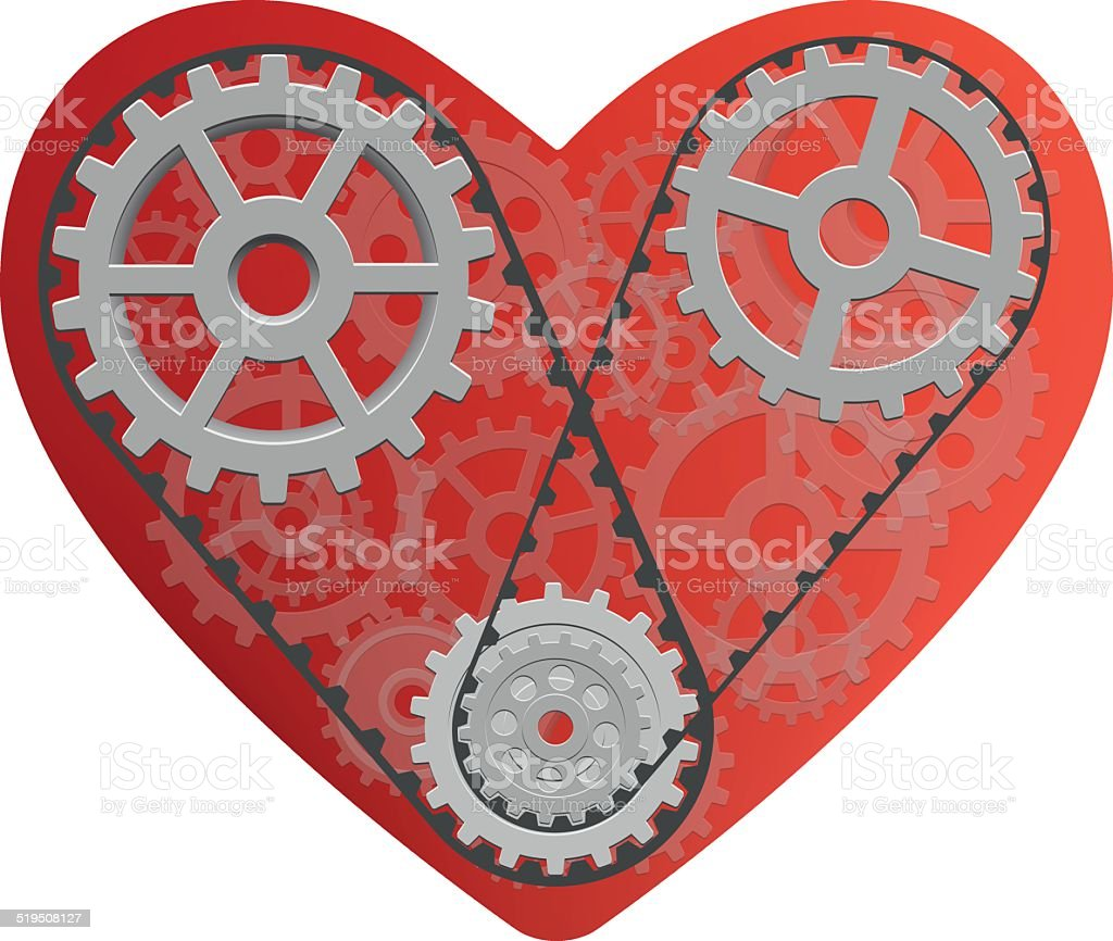 Red heart with gears. vector art illustration