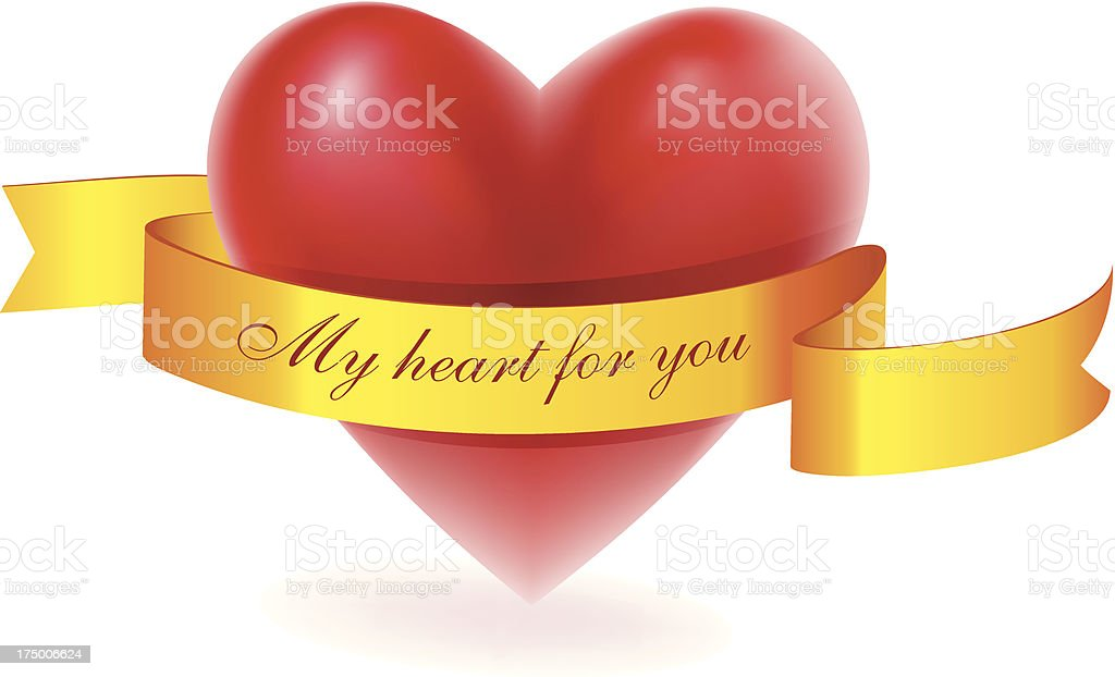 Red heart with gold ribbon royalty-free stock vector art
