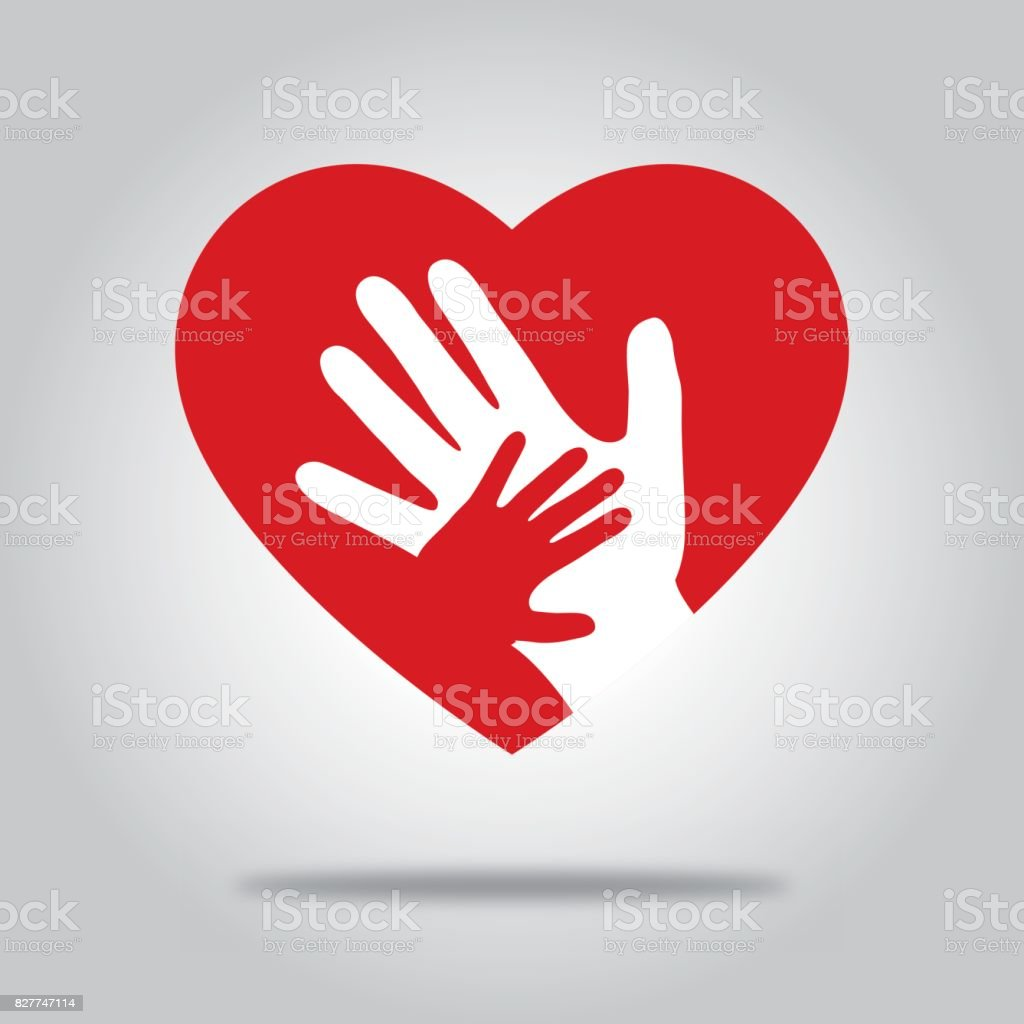 Red Heart With Hands vector art illustration