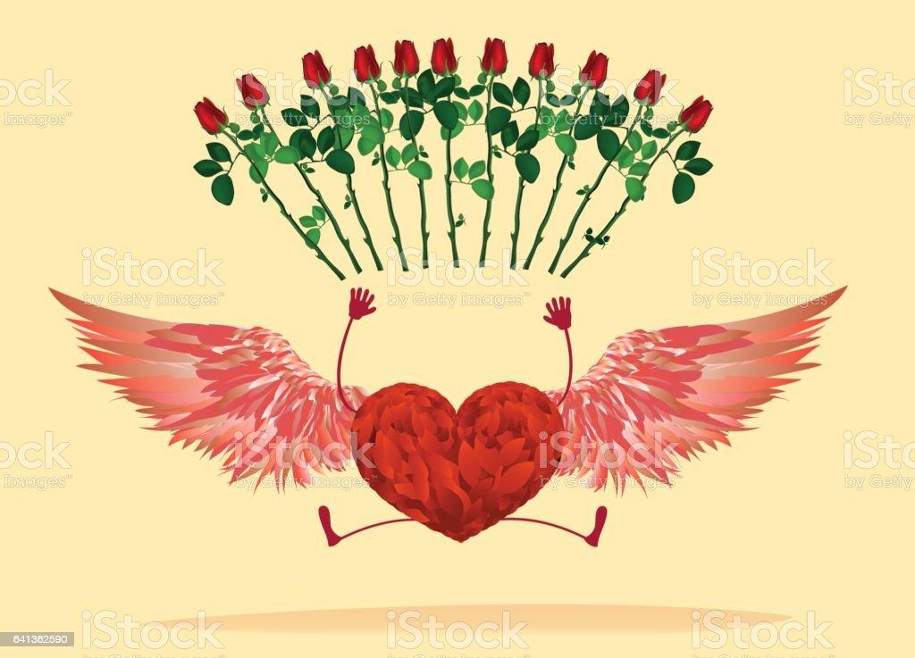 Rotes Herz Mit Beinen Und Schonen Flugel Prallte Und Heben Die Hande