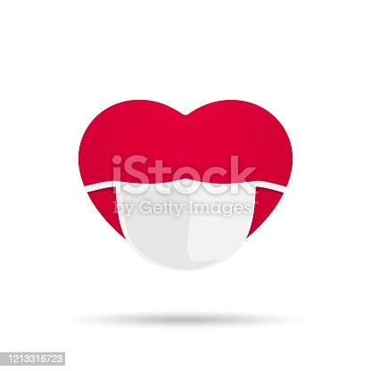 Red heart with medical mask vector illustration isolated on white background
