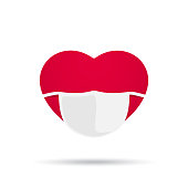 istock Red heart with medical mask vector illustration isolated on white background 1213316723