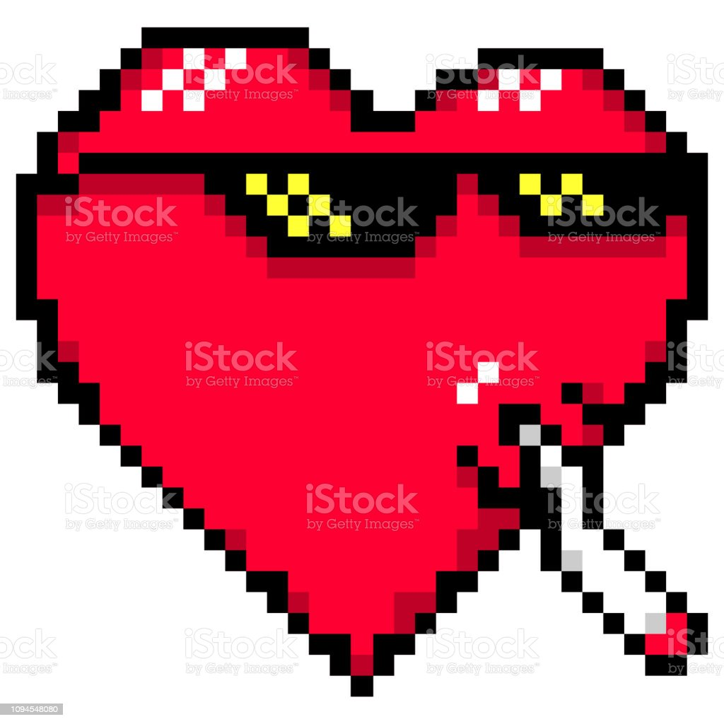 Red Heart With Meme Glasses And Joint Thug Life Or Like A