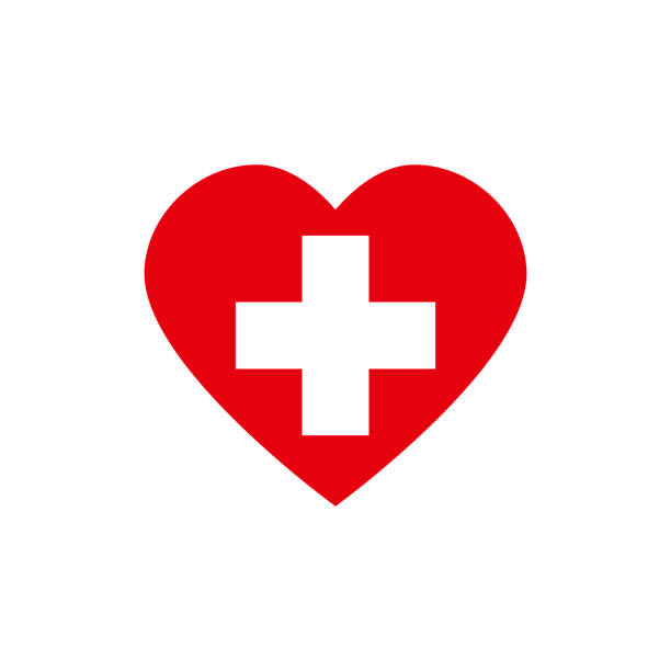 red heart with white cross. symbol for hospital - crossing stock illustrations