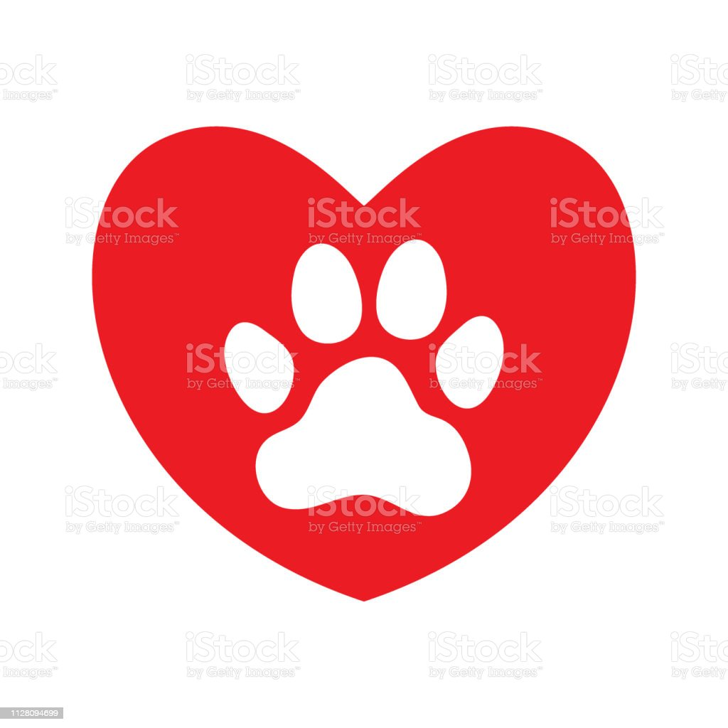 Red heart with white paw print. Love to animals . Pets friendly....