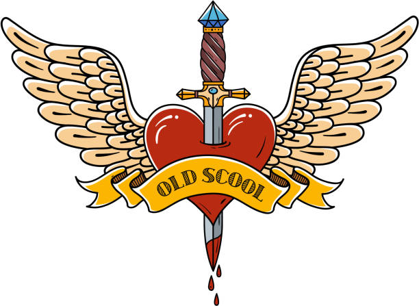 Red heart with wings pierced with ancient dagger. Tatoo dagger piercing flying heart with dripping blood. Old school vector art illustration