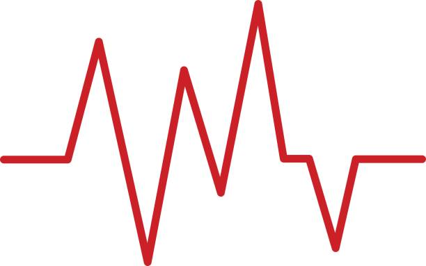 red heartbeat icon - ecg stock illustrations, clip art, cartoons, & icons