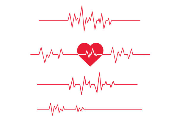 illustrazioni stock, clip art, cartoni animati e icone di tendenza di red heartbeat line icon on white background. - elettrocardiogramma
