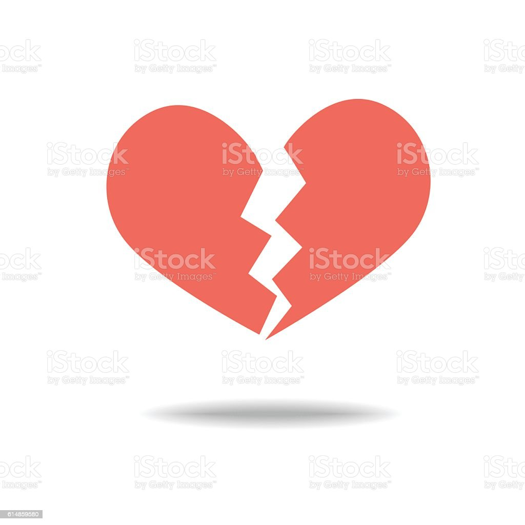 Red heartbreak / broken heart vector art illustration