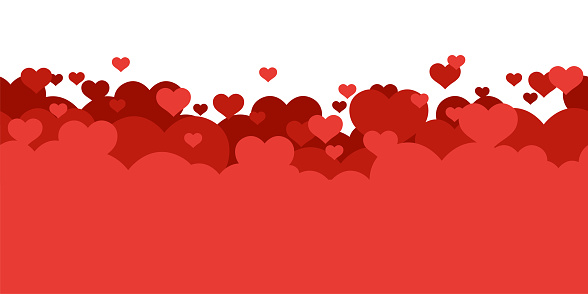 Red hearts background. Love. Holyday card, banner, poster template. Seamless border. Valentine's day. Cute simple realistic design. Transparent background. Flat style vector illustration.