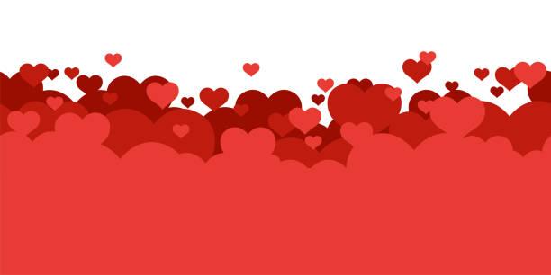 czerwone serca tła. miłość. kartka holyday, baner, szablon plakatu. bezszwowe obramowanie. walentynki. ładny prosty realistyczny projekt. przezroczyste tło. ilustracja wektorowa w stylu płaskim. - kartka na walentynki stock illustrations