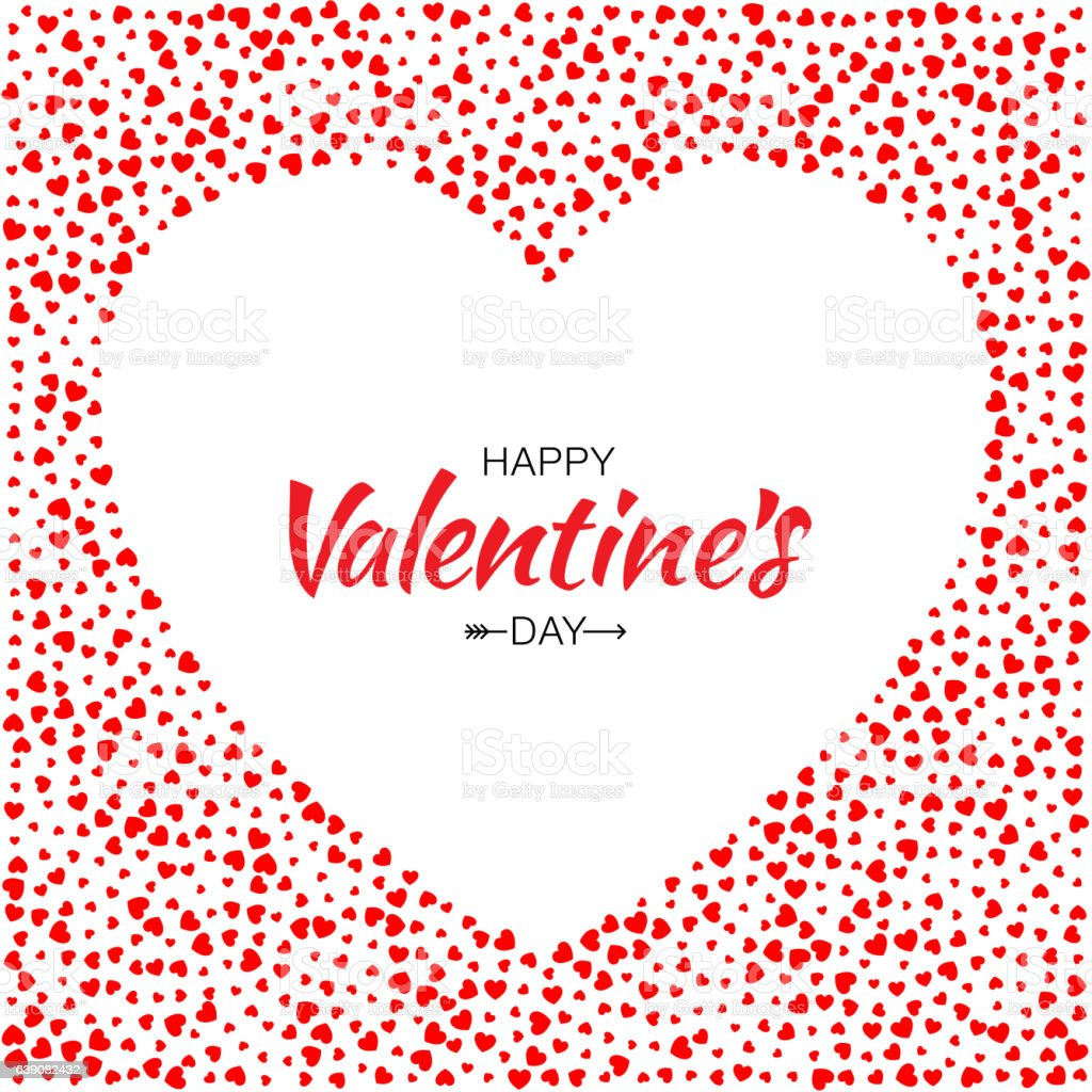 Red Hearts Frame Background Valentines Day Design Vector Card Stock ...