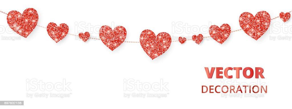 Red hearts frame seamless border vector glitter isolated on white red hearts frame seamless border vector glitter isolated on white for decoration of stopboris Gallery