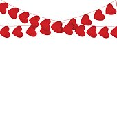 Red hearts garlands on white. Valentines day card.