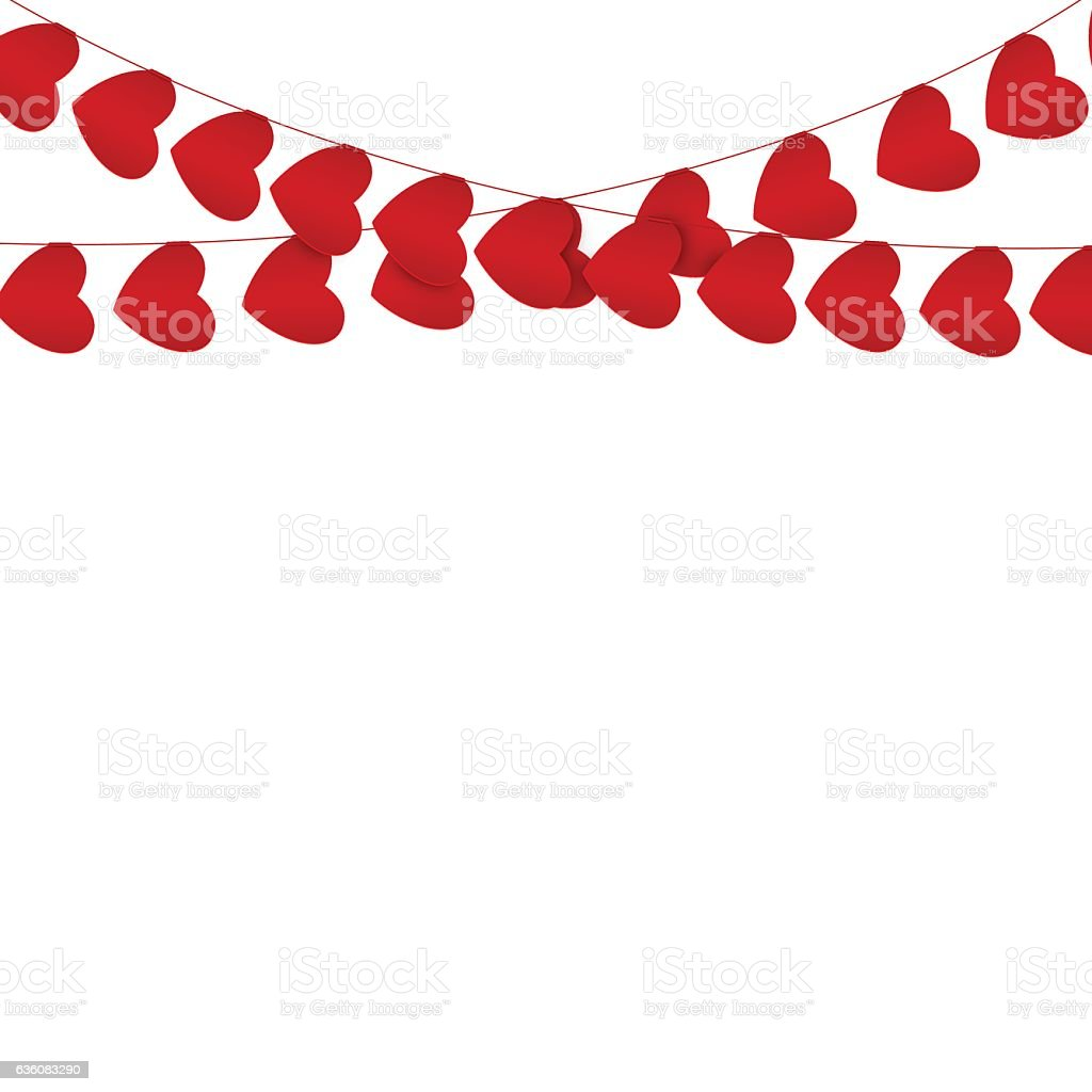 Red hearts garlands on white. Valentines day card vector art illustration