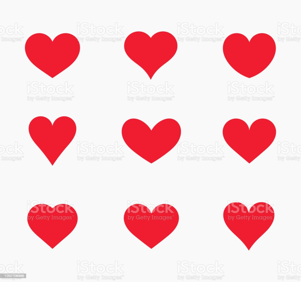 Red hearts icons. - Royalty-free Abstrato arte vetorial