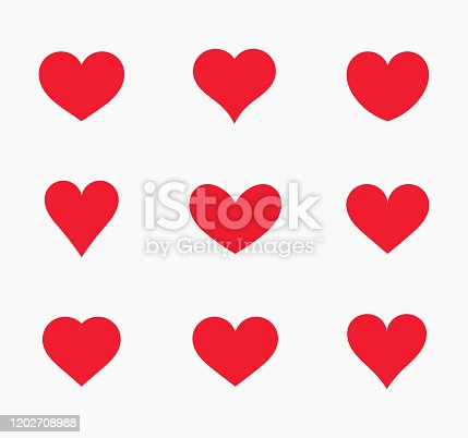 Red hearts icons. Vector illustration.