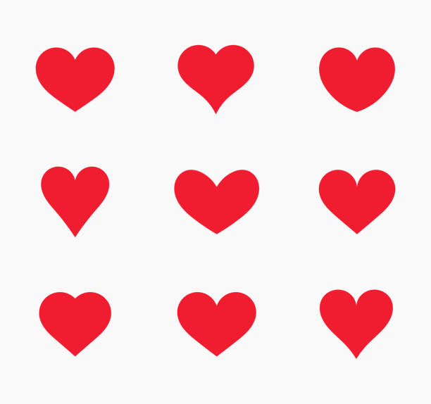Red hearts icons. Red hearts icons. Vector illustration. vector stock illustrations