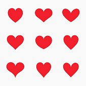 Set of red hearts icons. Vector illustration