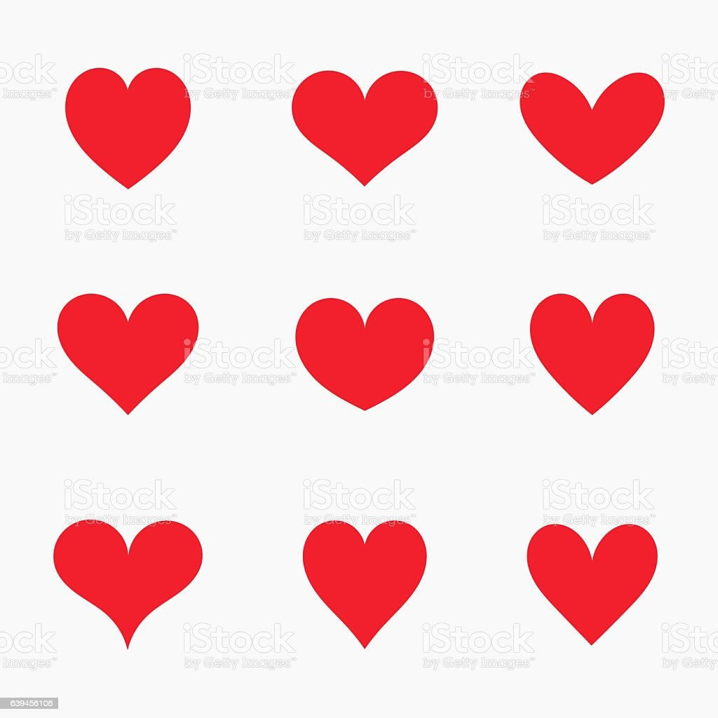 Red hearts icons vector art illustration