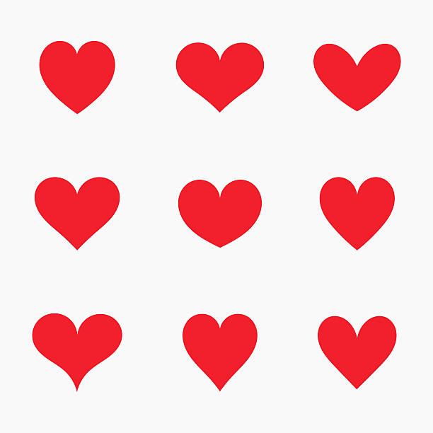 Red hearts icons Set of red hearts icons. Vector illustration backgrounds clipart stock illustrations
