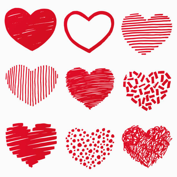 Red hearts in hand drawn style. Grunge heart shape set isolated on white background. Symbol of love. Doodle element for Valentines Day or wedding design. Vector illustration vector art illustration