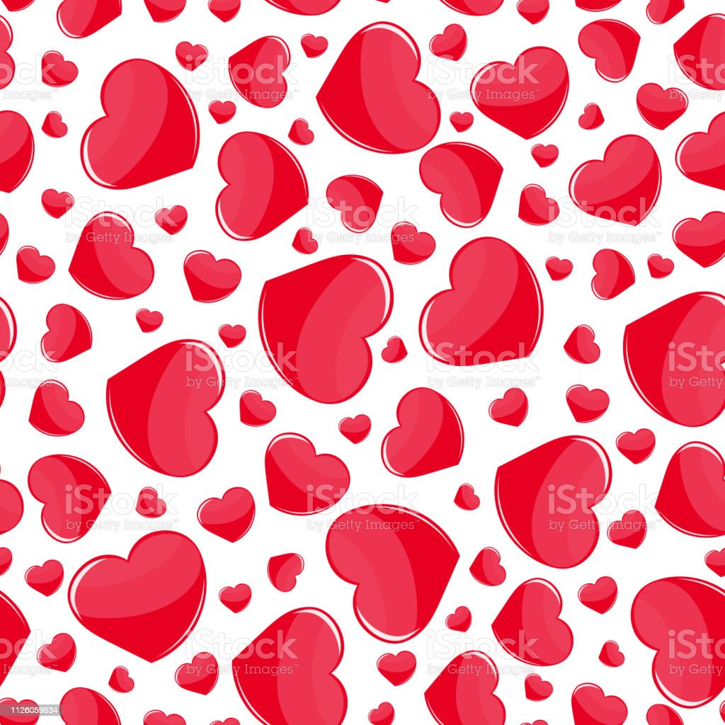 Red Hearts Seamless Pattern On White Background Print Holiday