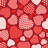 Red Hearts Seamless Pattern - Illustration