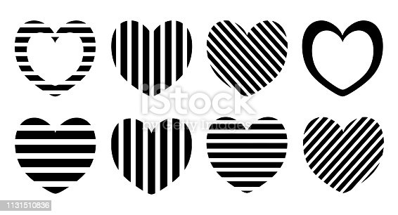 Red hearts set isolated on white background for your design and holiday cards.