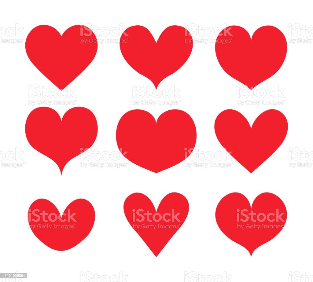 Rote Herzen Formen gesetzt, Sammlung Vektor - Lizenzfrei Abstrakt Vektorgrafik