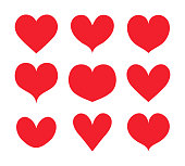 Red hearts shapes set, collection vector