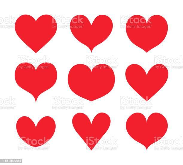 Rote Herzen Formen Gesetzt Sammlung Vektor Stock Vektor Art und mehr Bilder von Abstrakt